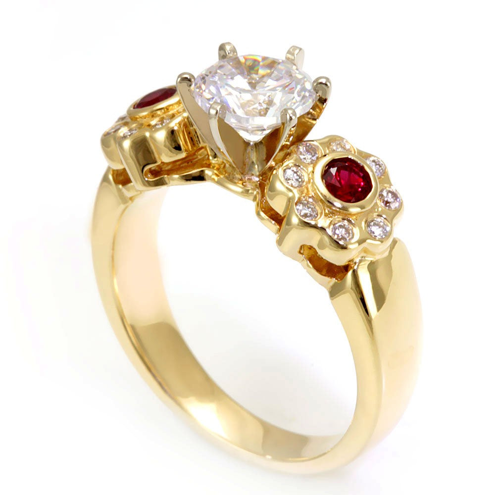Rubies and Round Diamonds in 14K Yellow Gold Ring