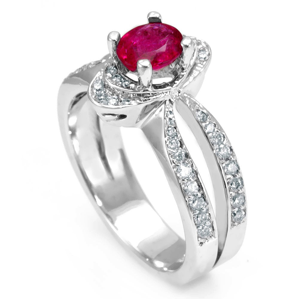 Split Shank Ring with Pink Tourmaline and Round Diamonds in 14K White Gold
