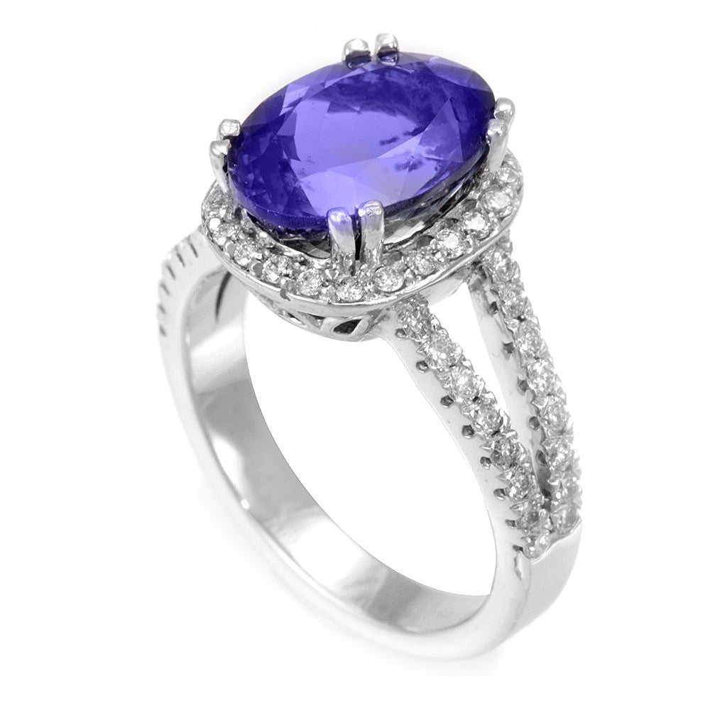 Oval Tanzanite with Diamond Halo Ring in 14K White Gold