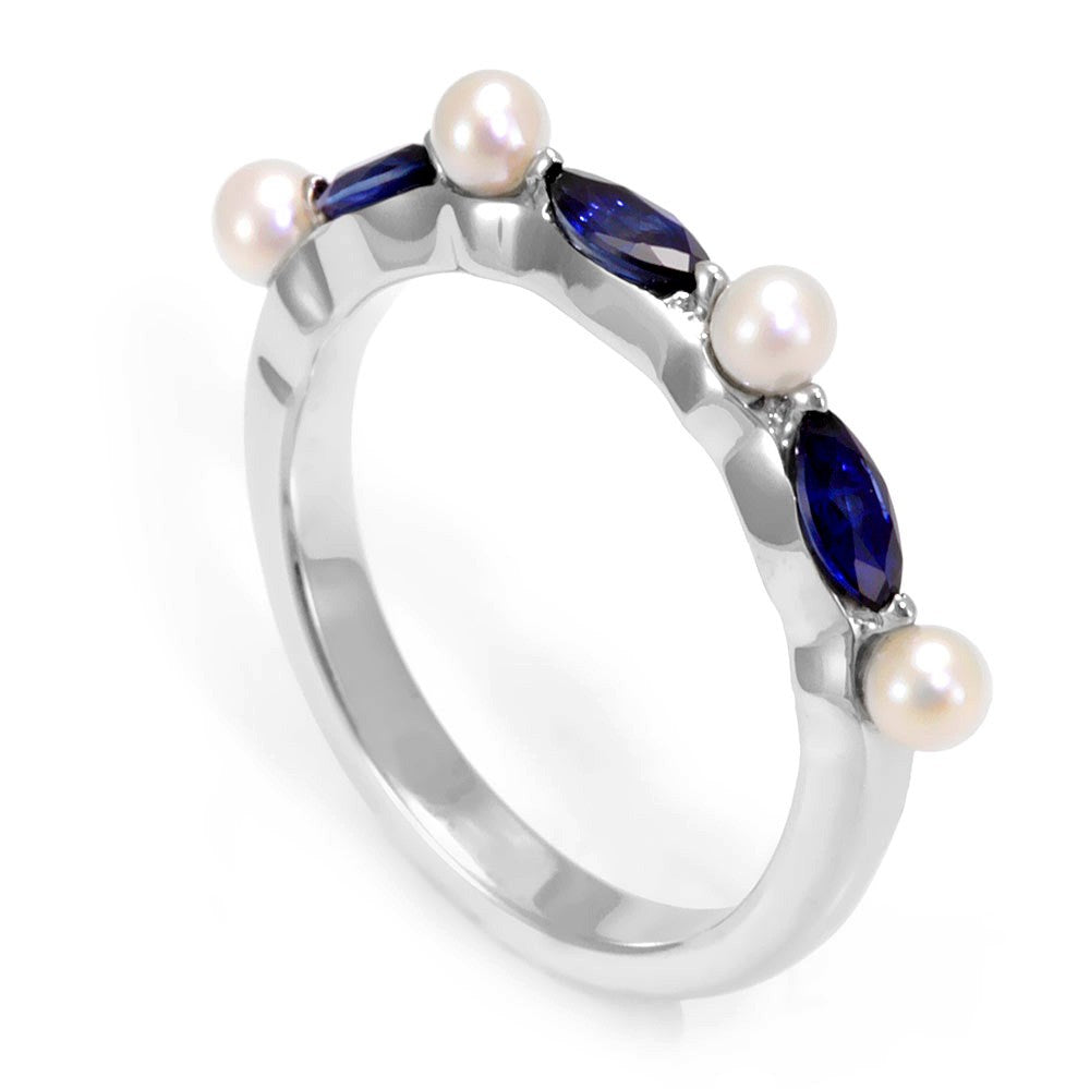 Pearl and Blue Sapphire in 14K White Gold Ring