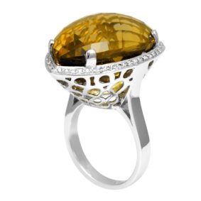 Pear Shape Lemon Quartz and Round Diamonds in 14K White Gold Fashion Ring
