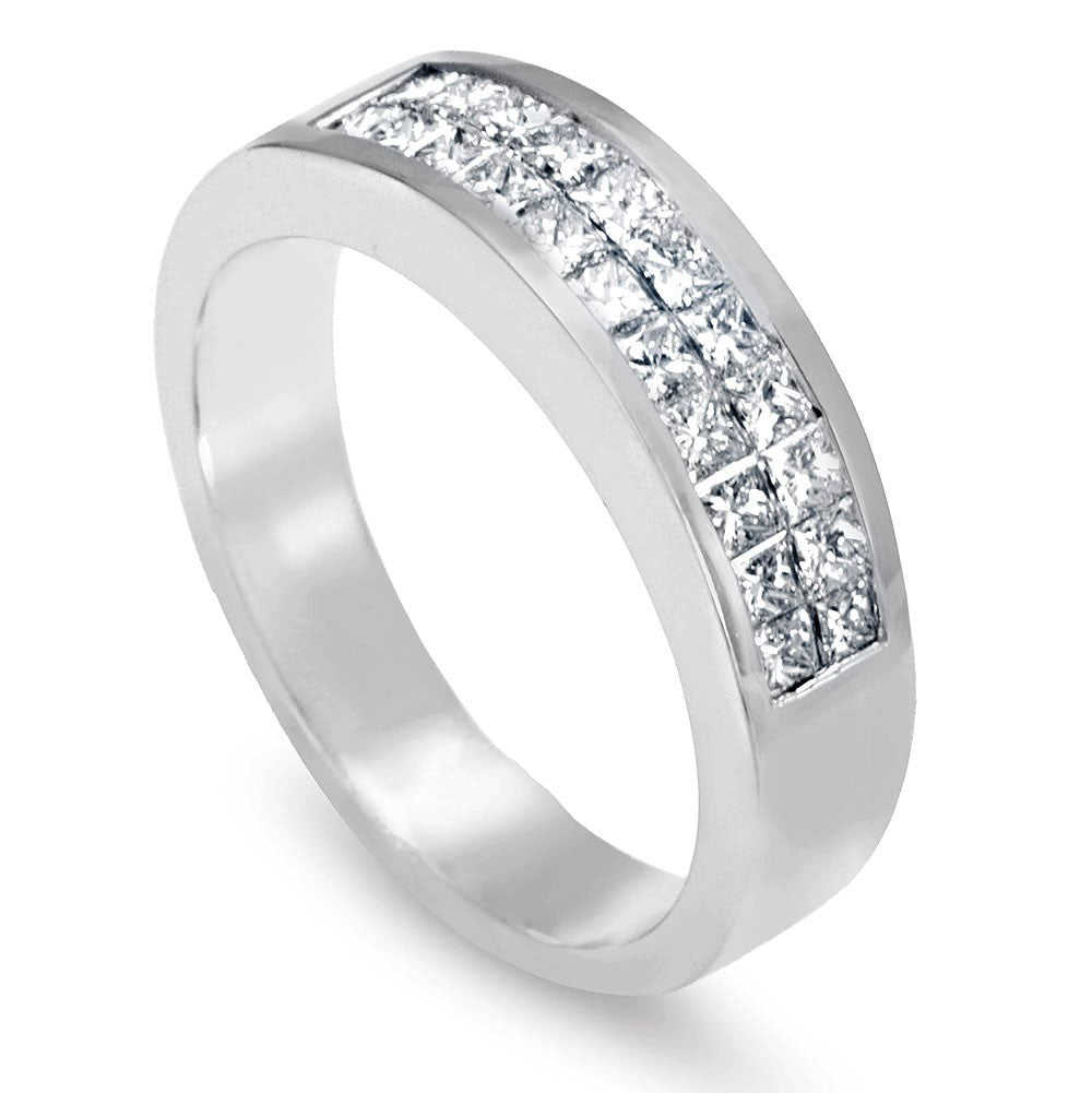 Princess Cut Diamonds Men's Band in 14K White Gold