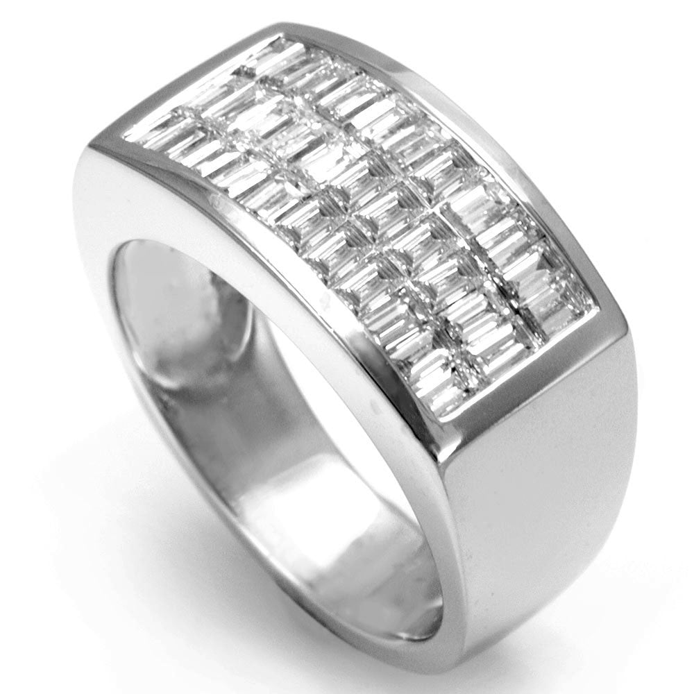 Baguette Diamonds Men's Ring in 14K White Gold