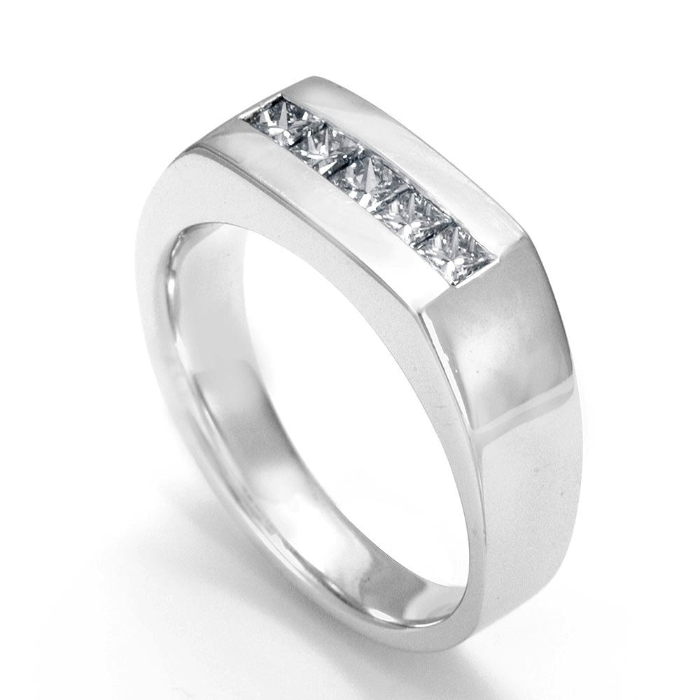 Princess Cut Diamonds Men's Ring in 14K White Gold
