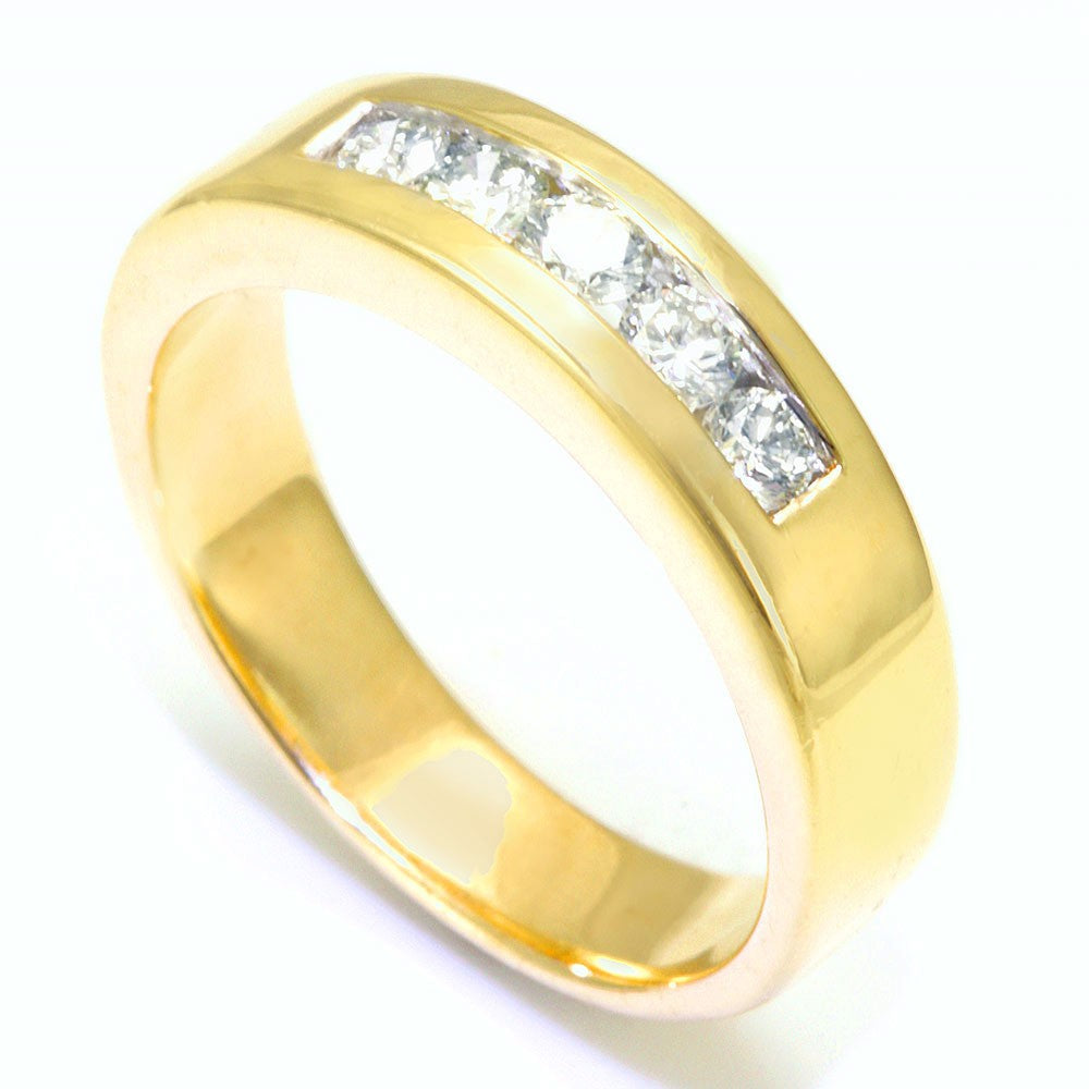 Channel Set Round Diamond Men's Band in 14K Yellow Gold