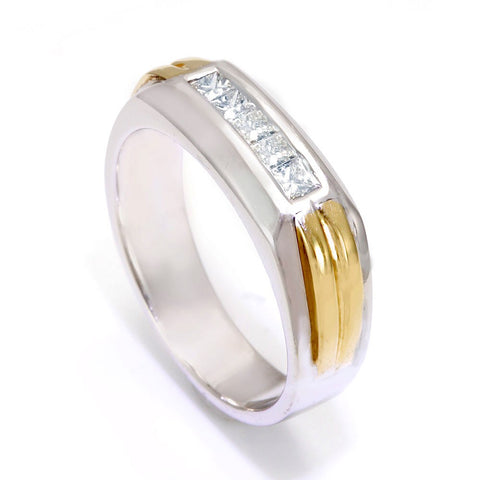 14K Two Tone Men's Ring with Princess Cut Diamonds