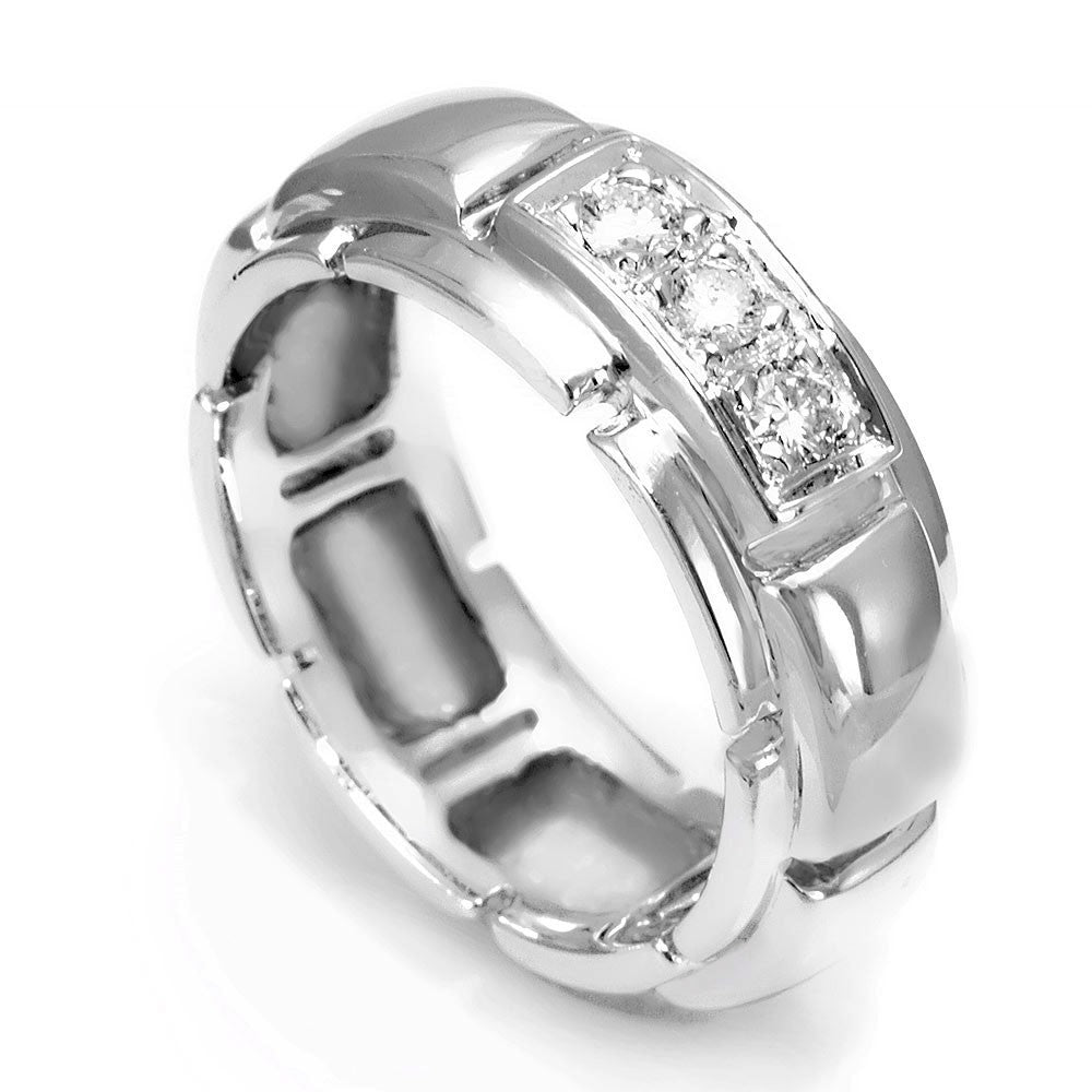 3 Round Diamond Men's Band in 14K White Gold