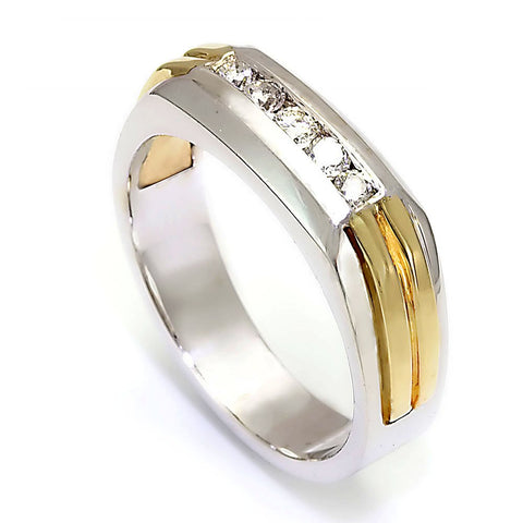14K Two Tone Men's Band with Round Diamonds
