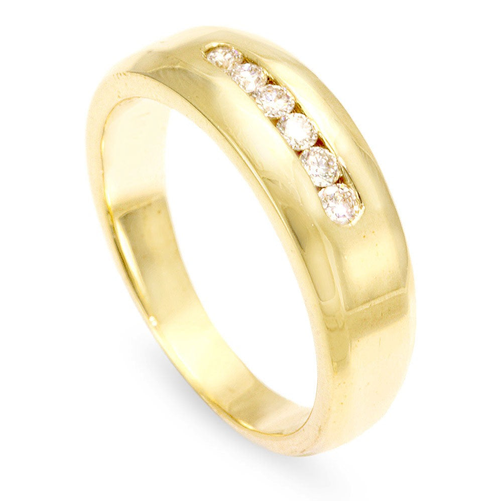14K Yellow Gold Men's Band with Round Diamonds