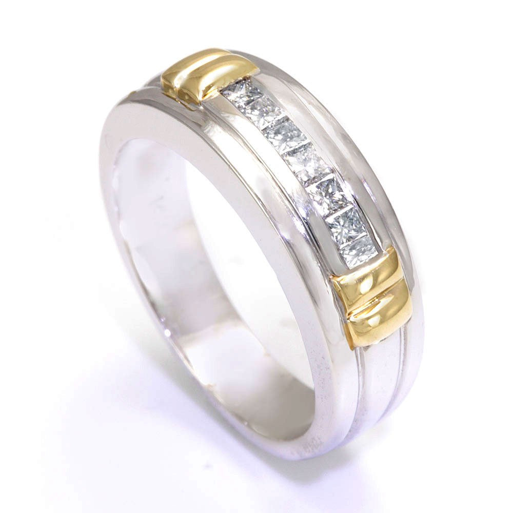 14K Two Tone Men's Band with Princess Cut Diamonds