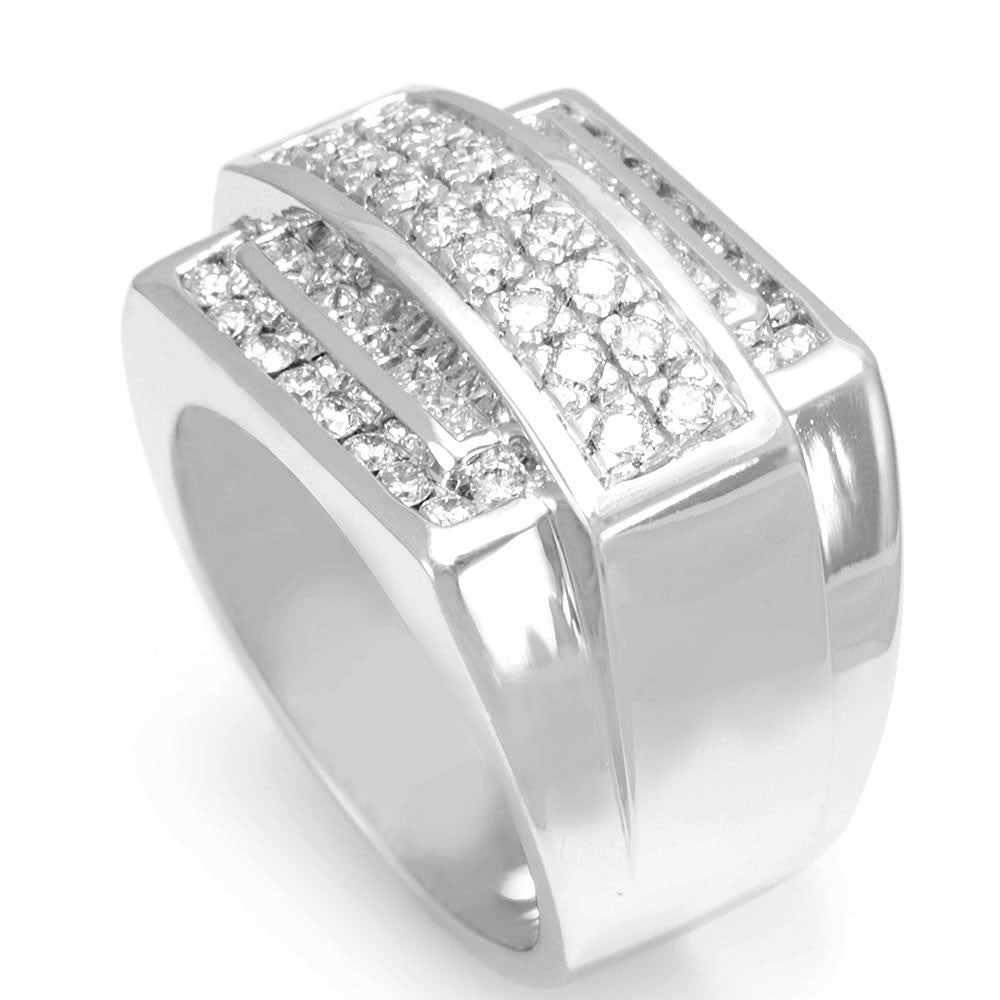 Princess and Round Diamonds in 14K White Gold Men's Ring