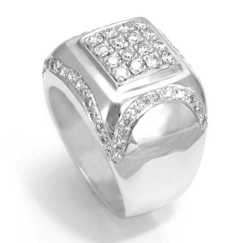 14K White Gold Men's Ring with Round Diamonds