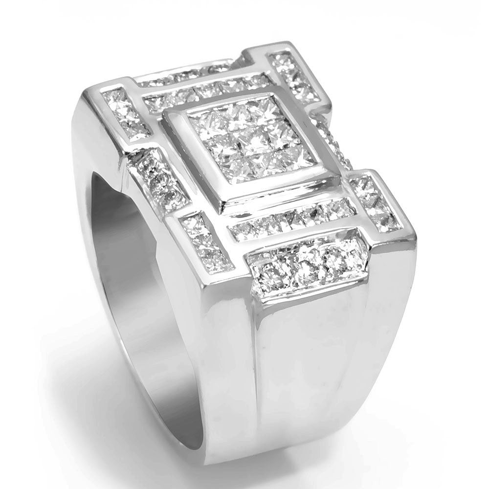 Invisible Set Princess Cut Diamonds in 14K White Gold Men's Ring