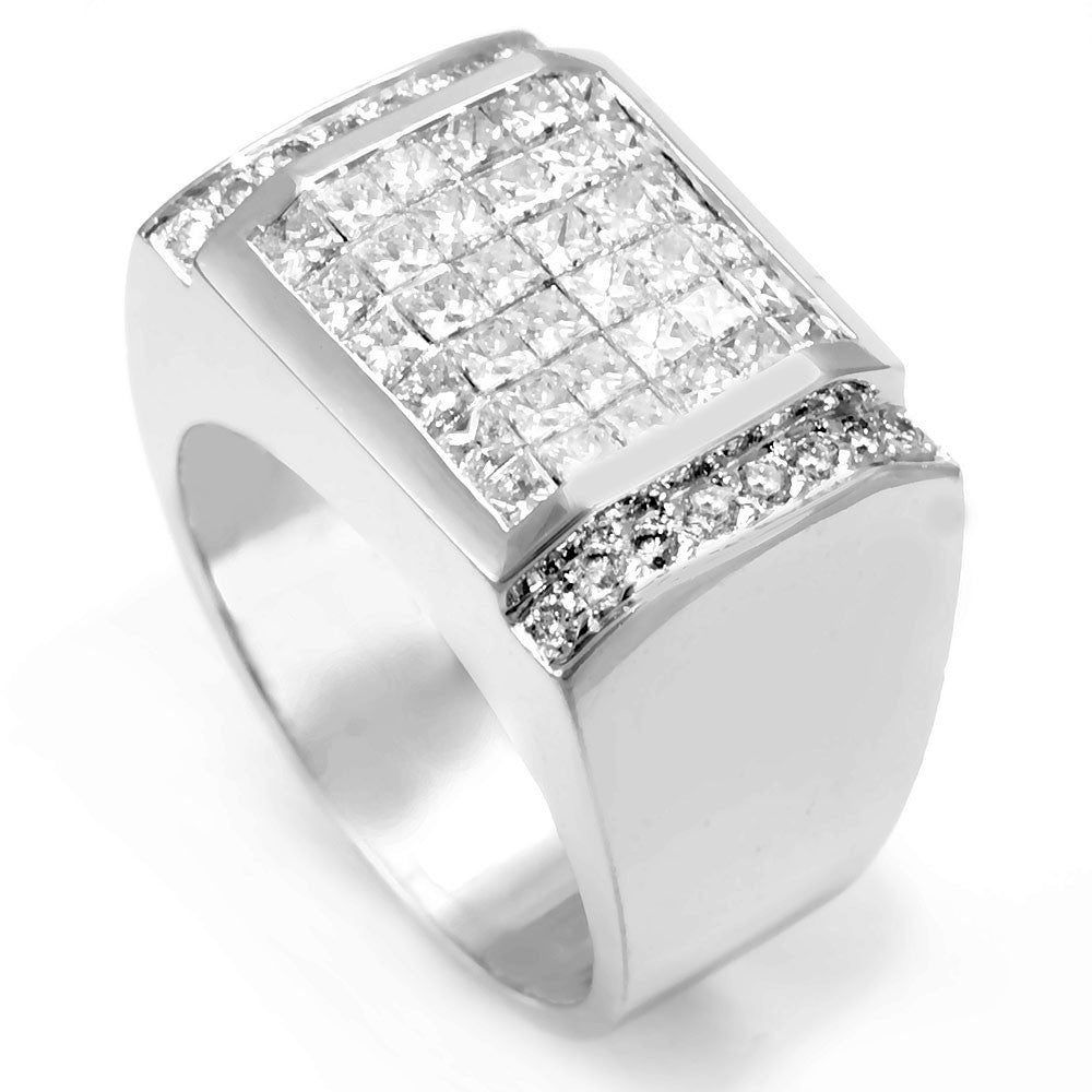 14K White Gold Men's Ring with Invisible Set Princess and Pave Round Diamonds