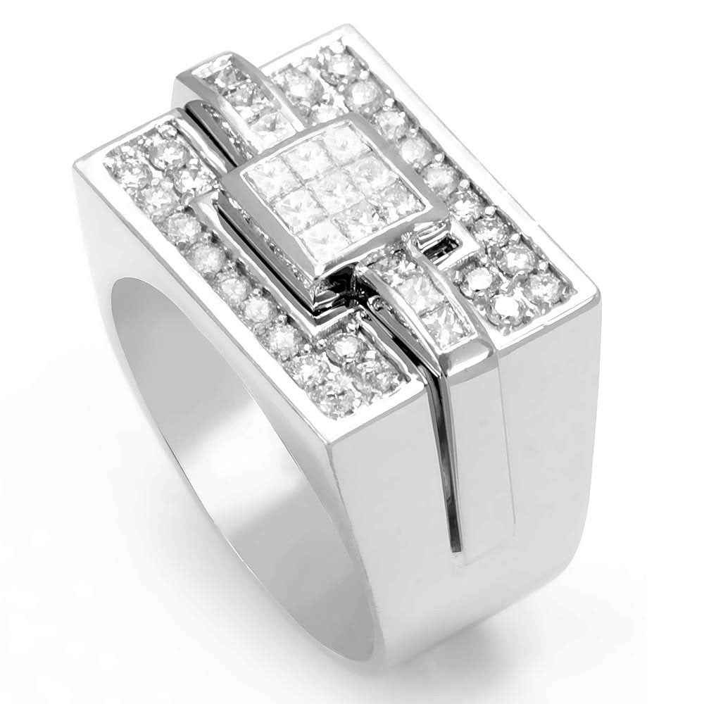 Princess Cut and Round Diamonds Men's Ring in 14K White Gold