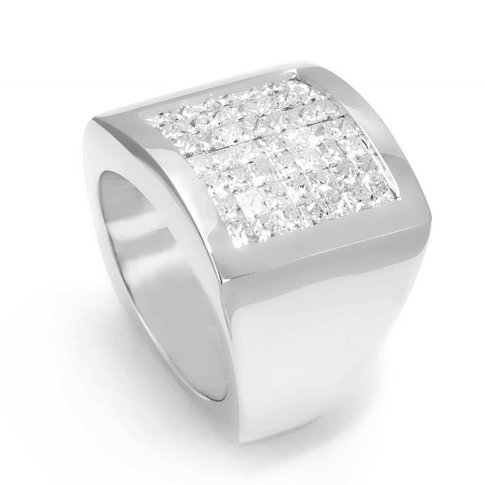 Invisible Princess Cut Diamonds in 14K White Gold Men's Ring
