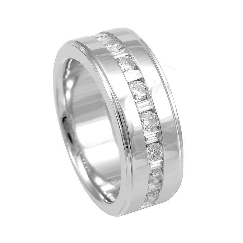 Baguette and Round Diamond Men's Band in 14K White Gold