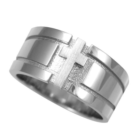 Cross Embossed Men's Band In 14K White Gold