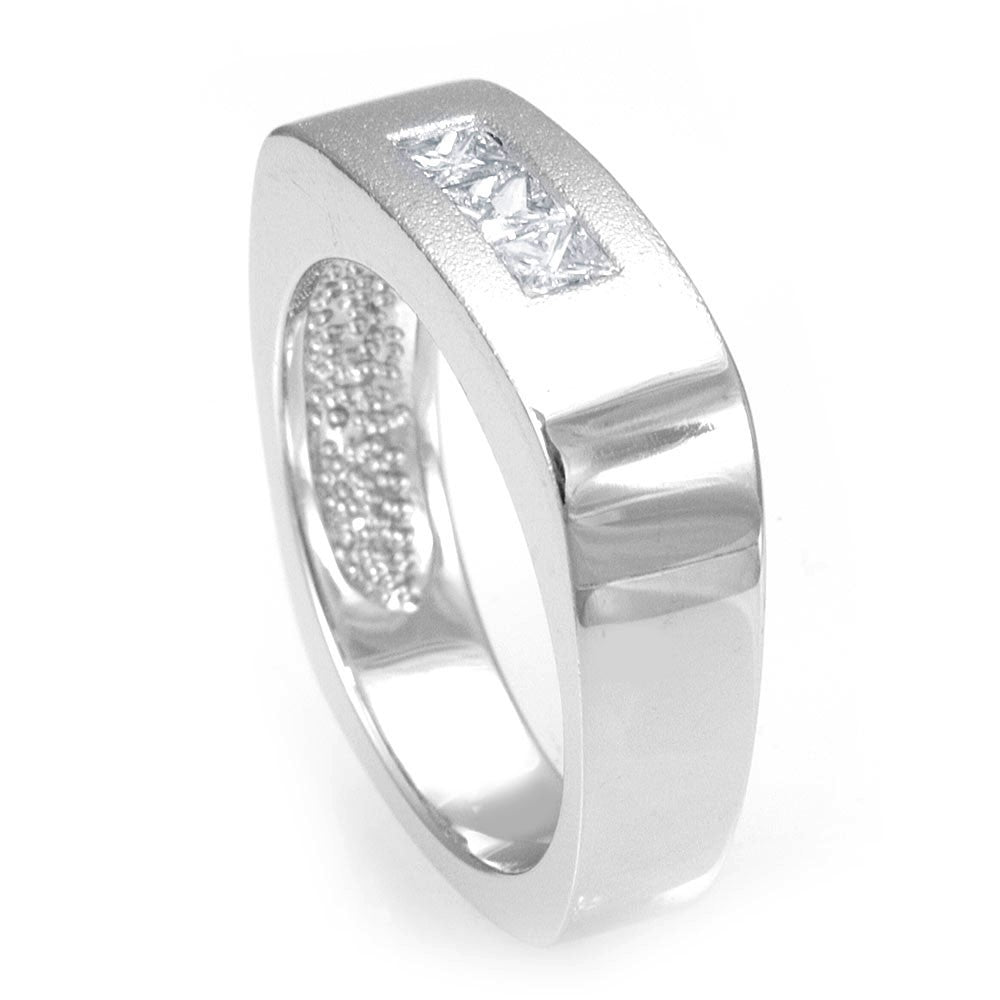 Square Shank 14K White Gold Wedding Band with 3 Princess Cut Diamonds
