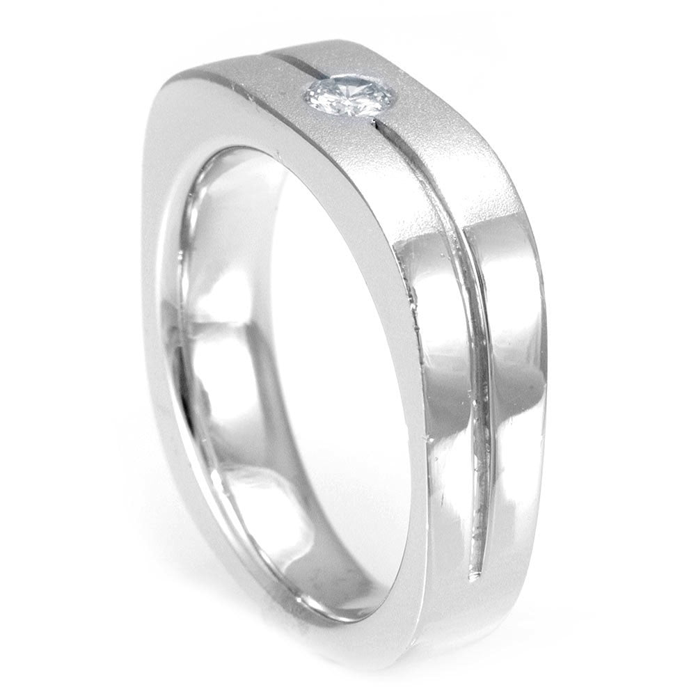 One Diamond Wedding Band in 14K White Gold