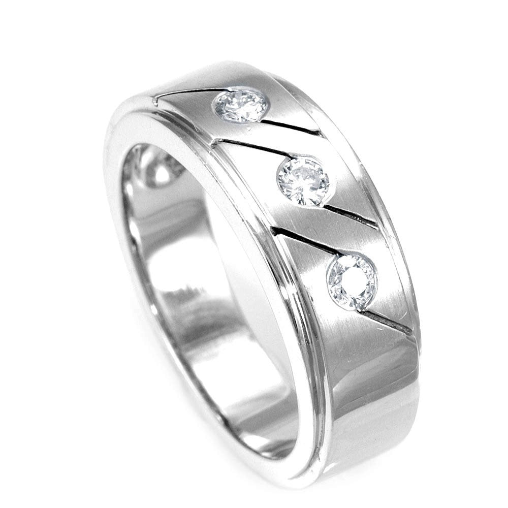 3 Diamond Bezel Set Wedding Band with carved lines in 14K White Gold