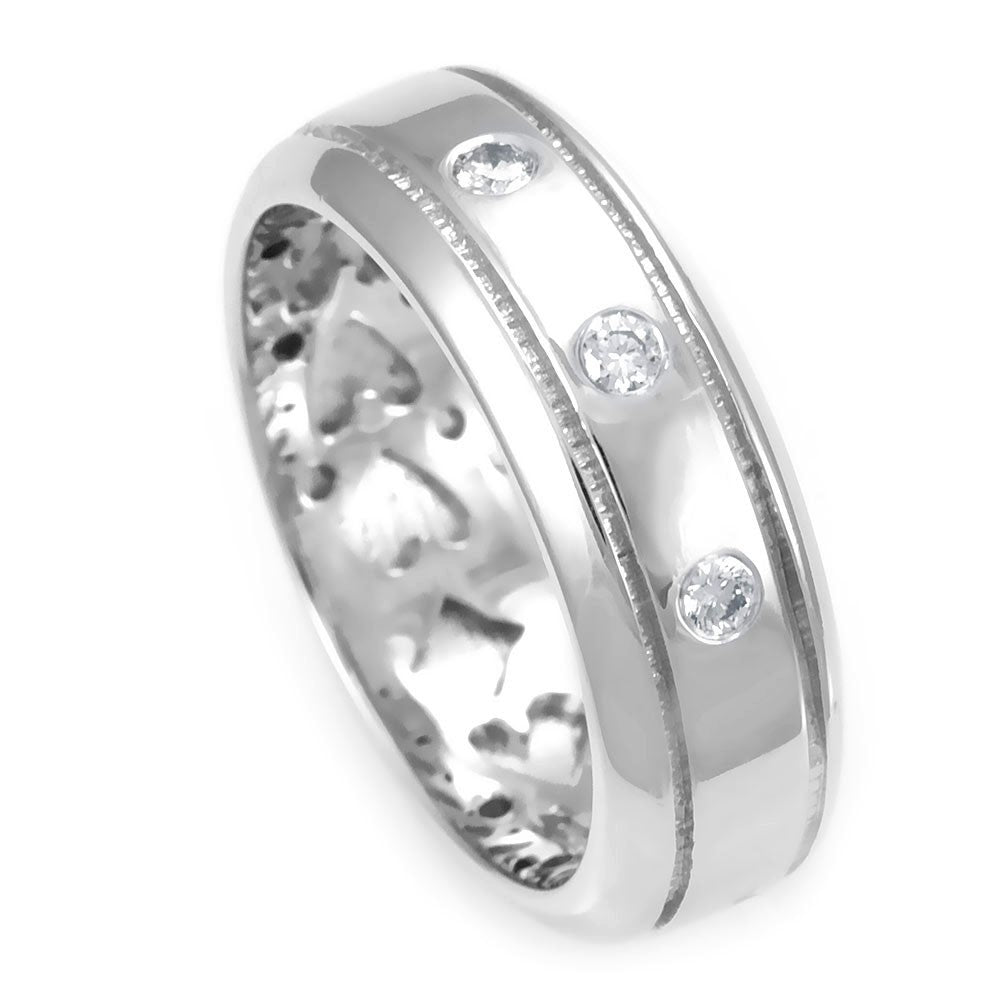 14K White Gold Comfort Fit Wedding Band with 3 Round Diamonds