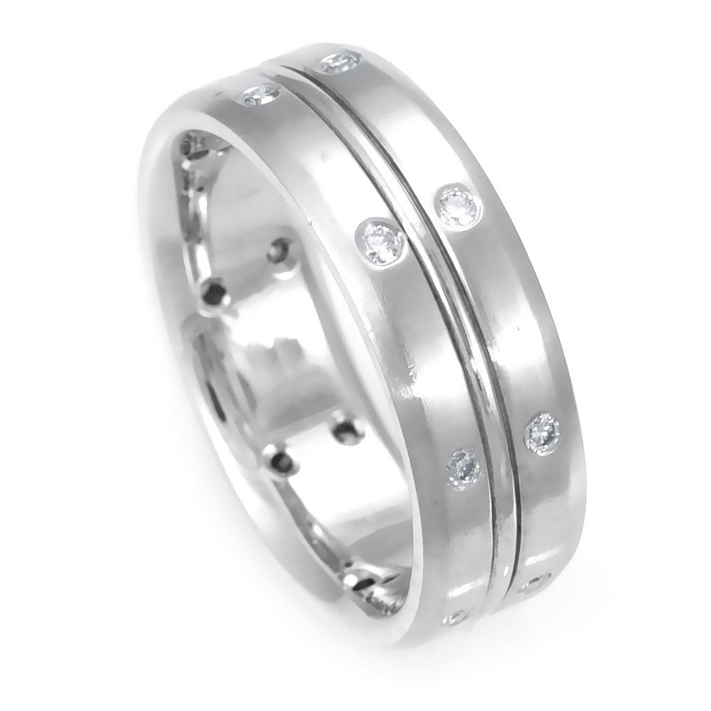 14K White Gold Comfort Fit Band with Round Diamonds