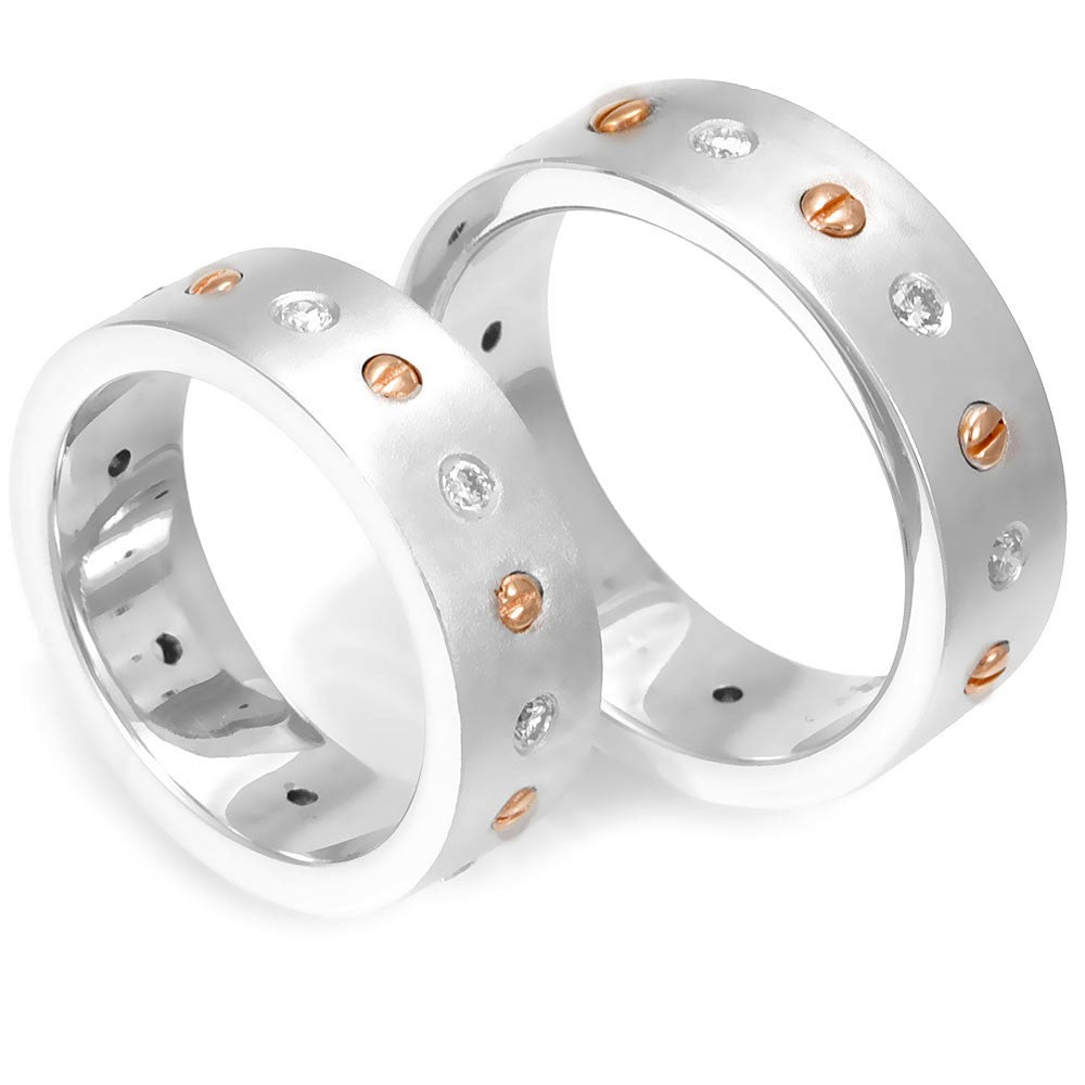 14K White and Rose Gold Wedding Band with Bezel Set Round Diamonds