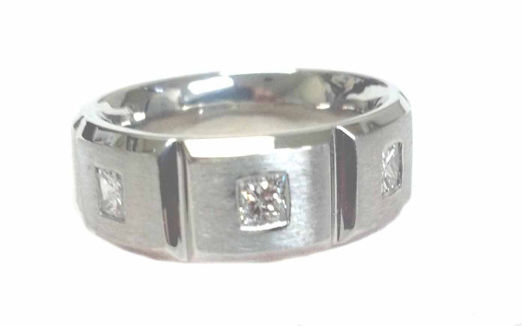 3 Princess Cut Diamond Wedding Band in Platinum