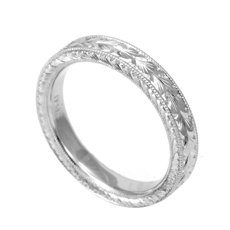 Hand Engraved 14K White Gold Wedding Band