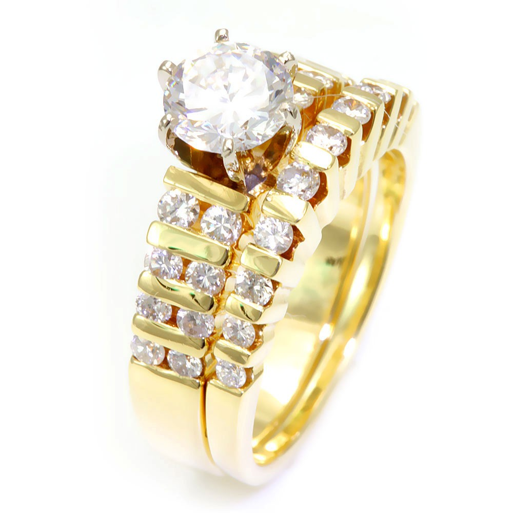Channel Set Round Diamonds Ring and Band in 14K Yellow Gold