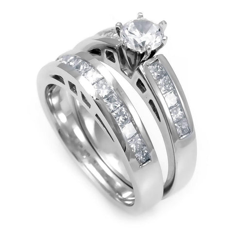 Princess Cut Diamonds Matching Ring and Band in 14K White Gold