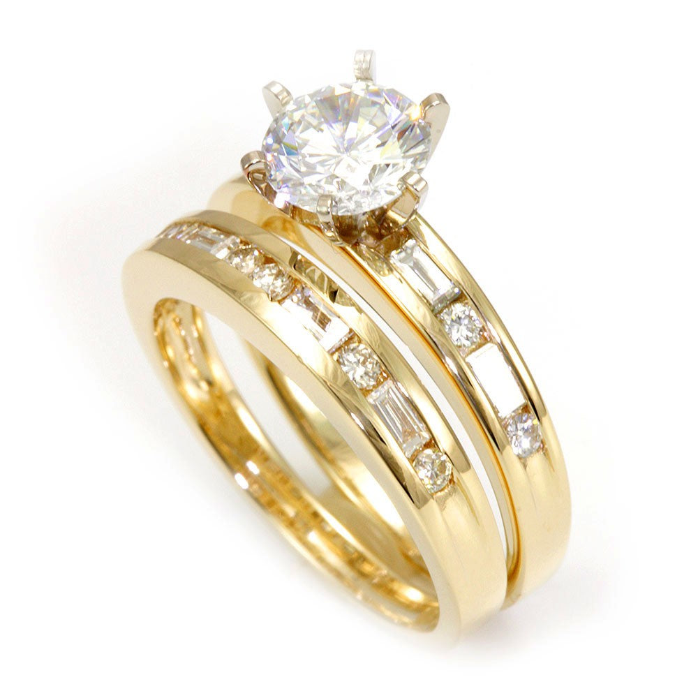 Baguette and Round Diamond Ring and Band in 14K Yellow Gold