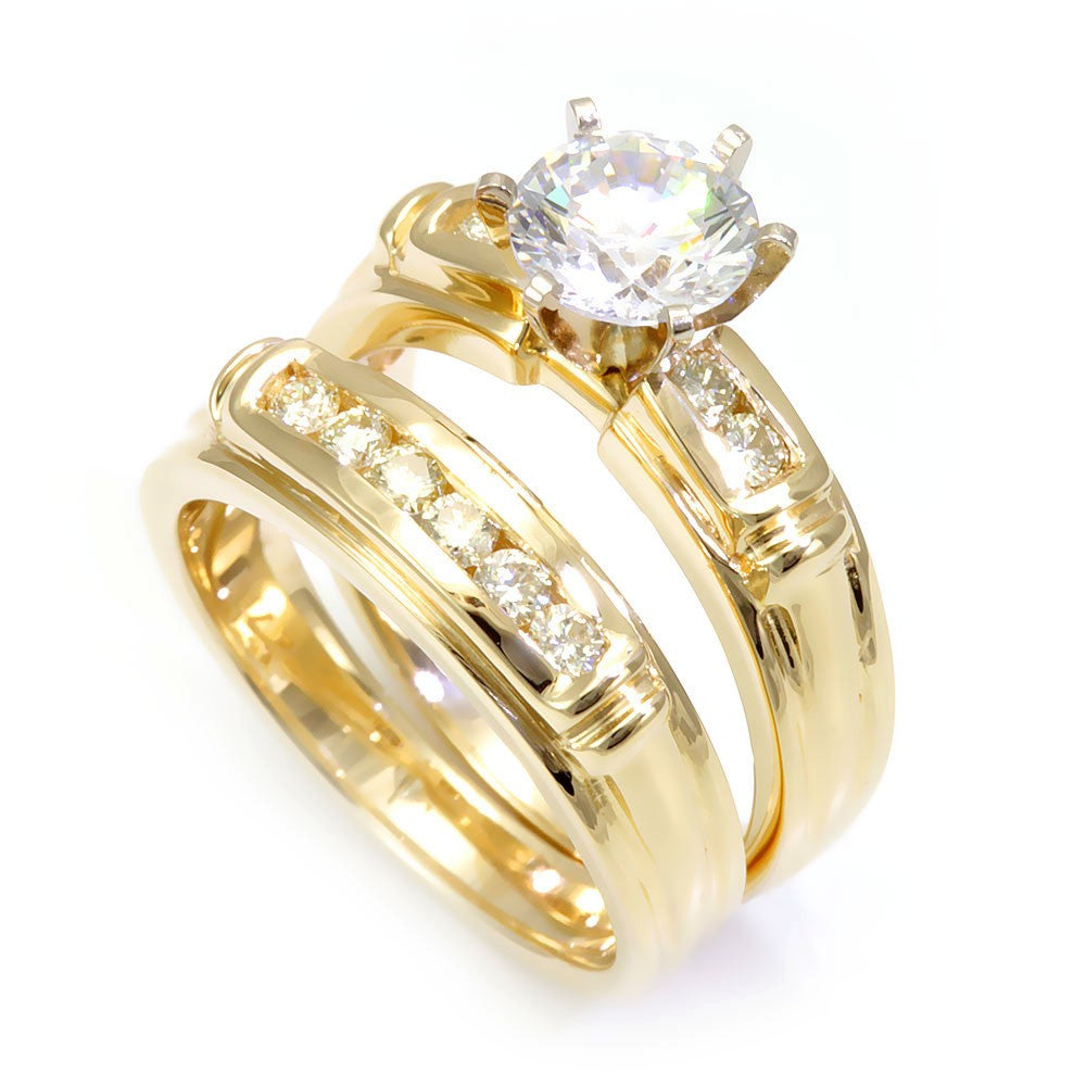 14K Yellow Gold Matching Ring and Band with Round Diamonds