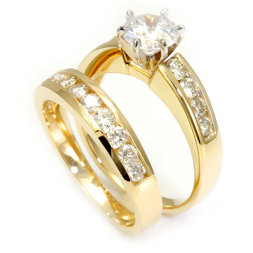 Channel Set Round Diamond Ring and Band in 14K Yellow Gold
