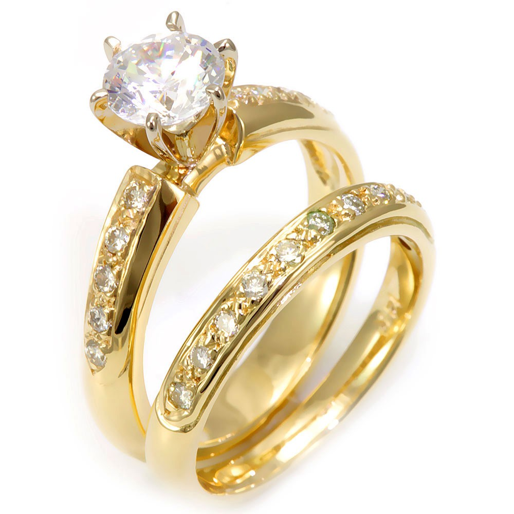 14K Yellow Gold Ring and Band with Pave Set Round Diamonds