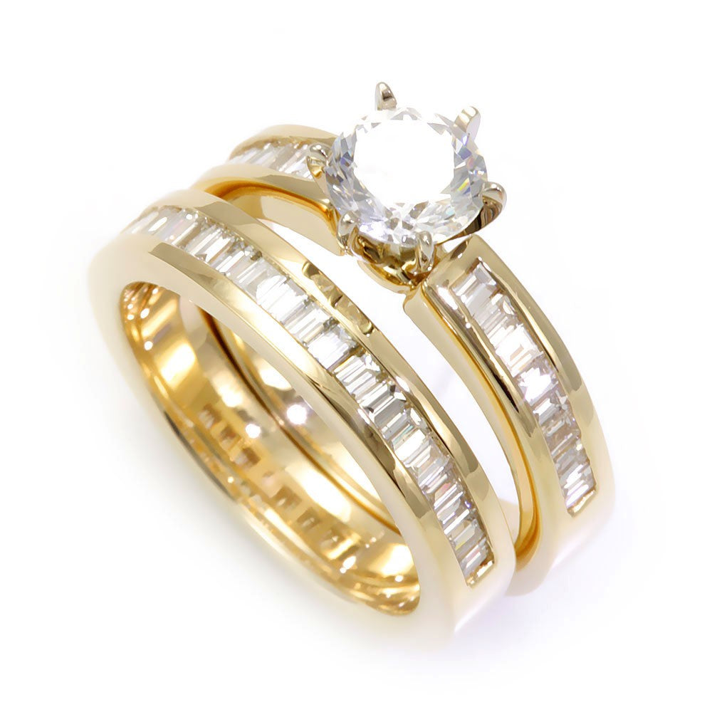 Baguette Diamond Ring and Band in 14K Yellow Gold
