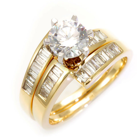 Baguette Diamonds Ring an Band in 14k Yellow Gold