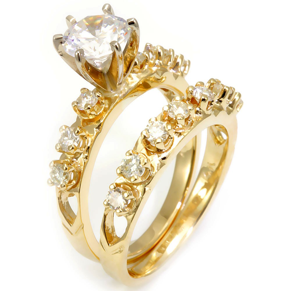 Prong Set Round Diamonds Ring and Band in 14K Yellow Gold