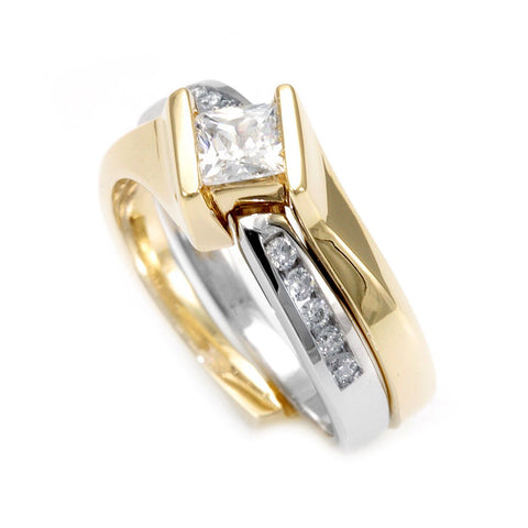 14K Two Tone Ring and Band with Round Diamonds Side stones