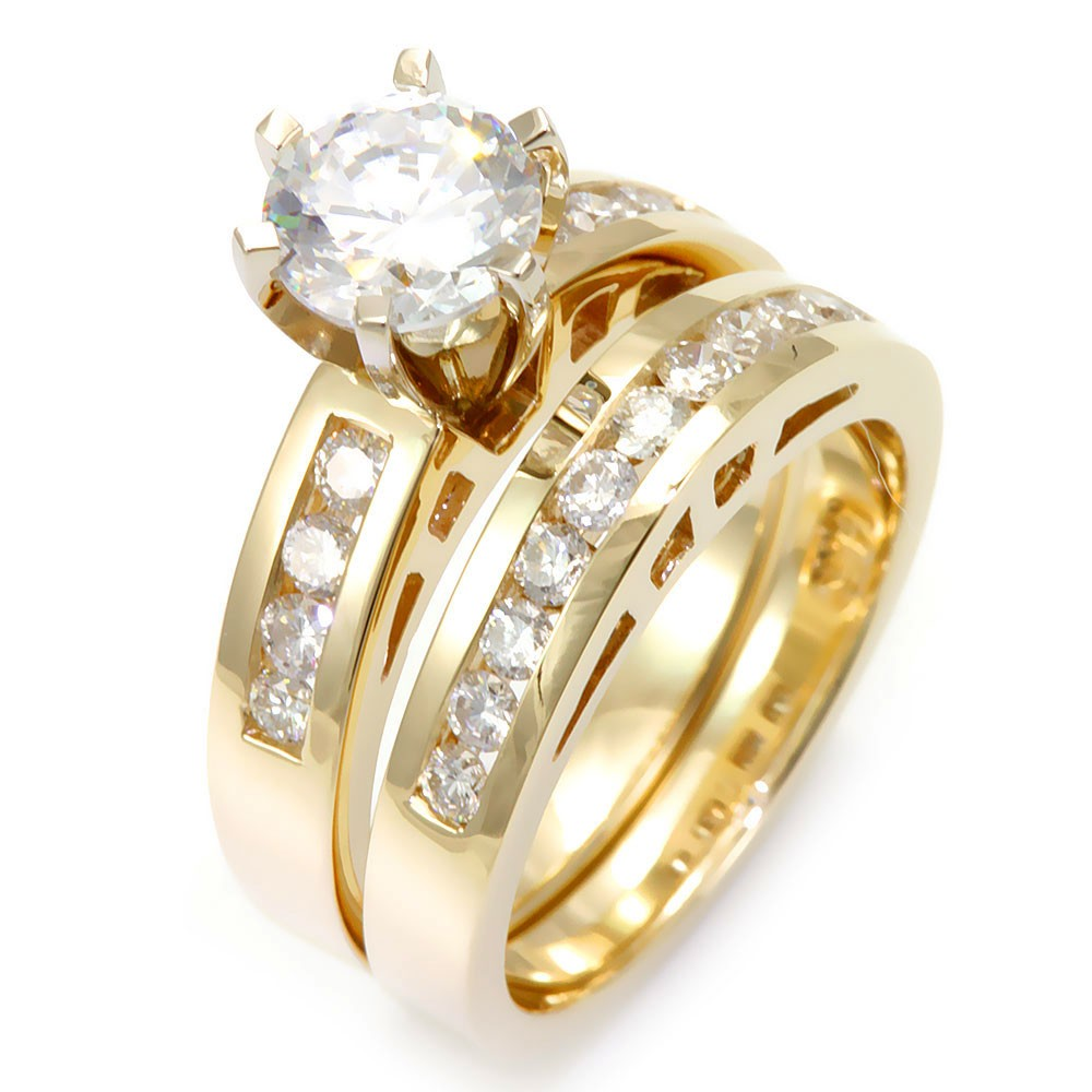 14K Yellow Gold Ring and Band with Channel Set Round Diamonds