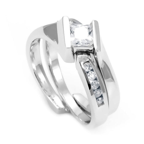 14K White Gold Ring and Band with Round Diamonds