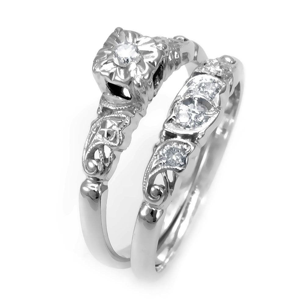 Antique Inspired 14K White Gold Ring and Band with Round Diamonds