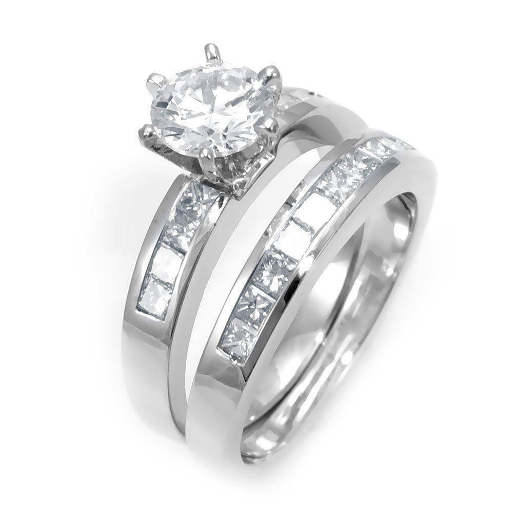 Princess Cut Diamond Ring and Band in 14K White Gold