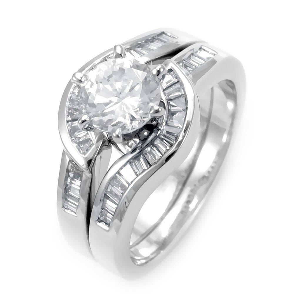 Baguette Diamonds Ring and Band in 14K White Gold