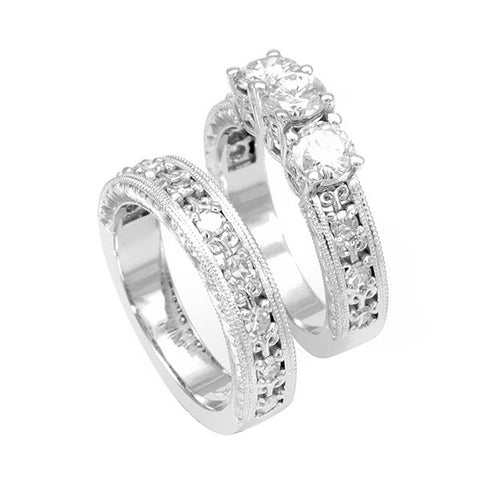 Engraved 14K White Gold Ring and Band with Round Diamonds