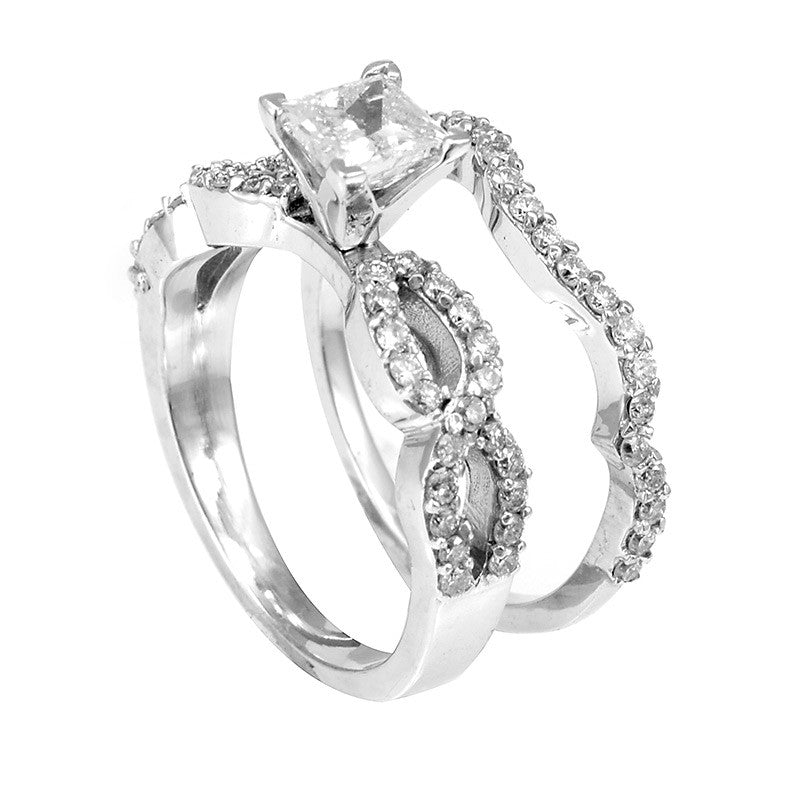 Infinity 14K White Gold Ring and Band with Round Diamonds