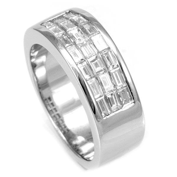 Baguette Diamond Ladies Band in 14K White Gold
