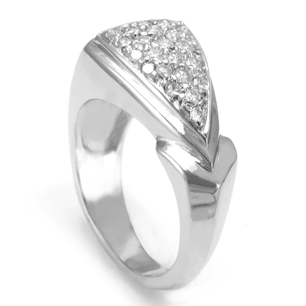 14K White Gold Ladies Ring with Pave Set Round Diamonds