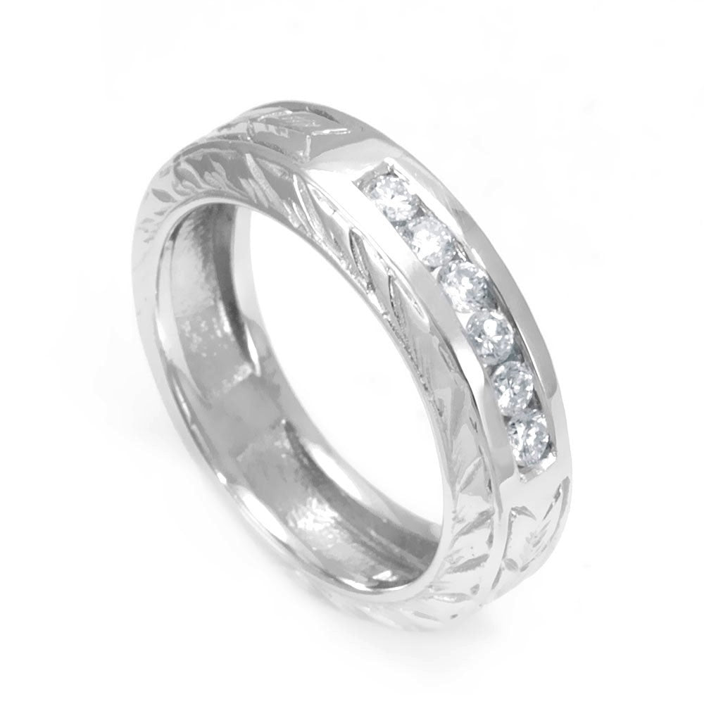 Channel Set Round Diamond Ladies Band in 14K White Gold